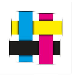 crossed strips of paper in cmyk colors abstract vector image