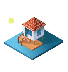 isometric holiday apartment bungalow on water vector image vector image