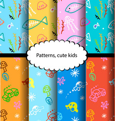 pattern fish and colorful designs cars vector image