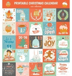 Printable advent calendar in vector image