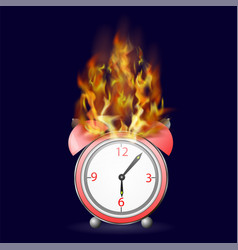 red alarm clock icon on fire flame vector image vector image
