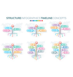 set of tree infographics templates with branches vector image