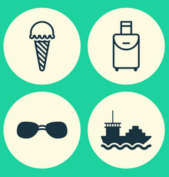 tourism icons set collection of trip handbag vector image vector image