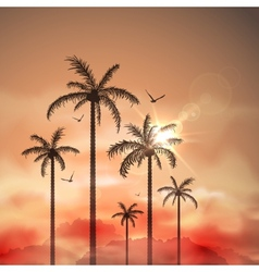 Tropical landscape with palm trees vector image vector image