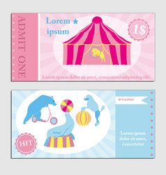 vintage set circus ticket template vector image
