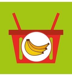 Basket shopping banana tasty fruit vector
