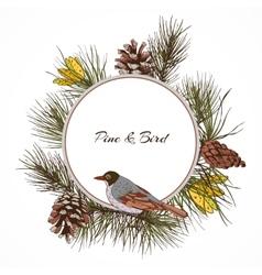 Bird pine branch label vector image vector image
