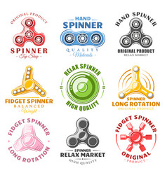 hand spinner labels and logos vector image vector image