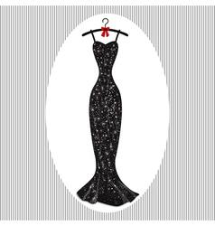 Long evening dress black on hangers vector image