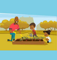 cheerful african american father and two kids vector image vector image