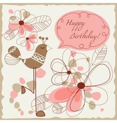 cute bird greeting card vector image vector image