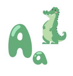 cute zoo alphabet with cartoon animal crocodile vector image