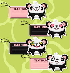 Four cute cartoon Pandas stickers vector image
