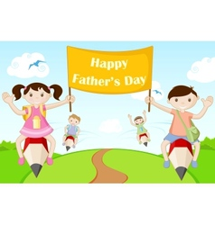 Kids flying with Happy Fathers Day Banner vector image