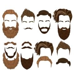 Man hair mustache and beard collection Men vector image
