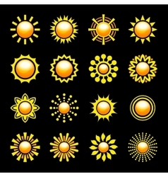 Glossy Sun Icons Set vector image vector image