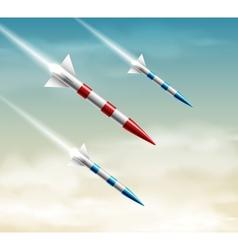 Three rockets vector image