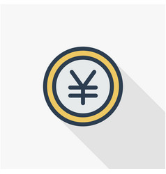 yen coin money finance currency thin line flat vector image