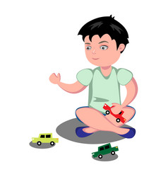young boy playing toy cars vector image