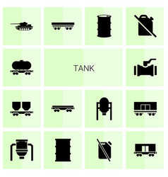 14 tank icons vector image