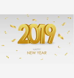 2019 new year card with gold 3d numbers vector image