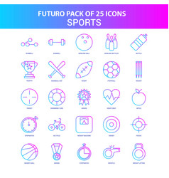 25 blue and pink futuro sports icon pack vector