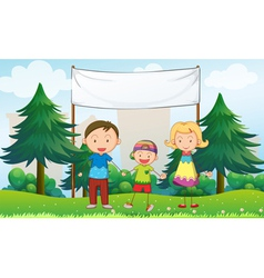 A family at the park with an empty banner vector image