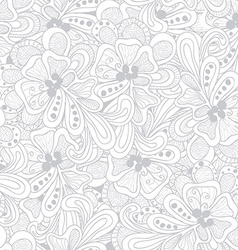 Abstract seamless pattern with gray-white flowers vector