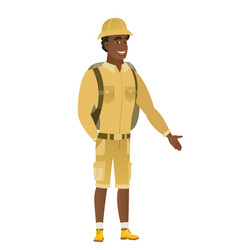 african-american traveler with hand in his pocket vector image
