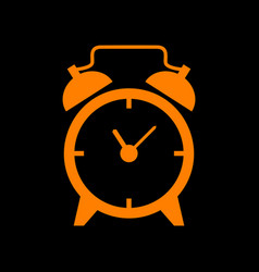 alarm clock sign orange icon on black background vector image