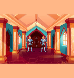 Armed guards in knight armor stand at forged door vector