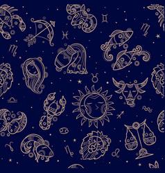 astronomy seamless drawn zodiac symbols textile vector image