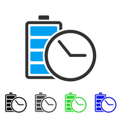 Battery clock flat icon vector