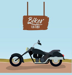 Biker culture poster with classic motorcycle with vector
