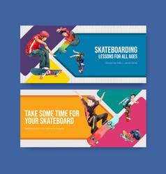 billboard template with skateboard design concept vector image