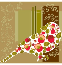 bird and fruits background vector image vector image