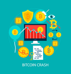 Bitcoin crash flat concept vector