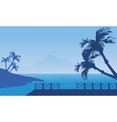 Blue silhouette of seaside scenery vector image