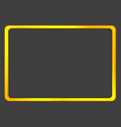 Bright orange golden neon frame on dark background vector