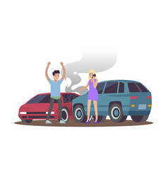car accident man and woman after cars vector image
