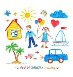 Childlike drawing set vector