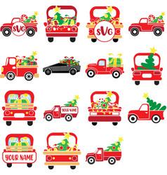 christmas trucks set red truck vector image