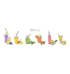 collection colorful refreshing soft drinks in vector image