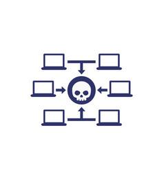 Computer virus malware attack icon vector