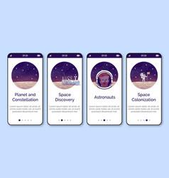 Cosmonauts onboarding mobile app screen template vector