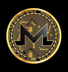 Crypto currency monero golden symbol vector