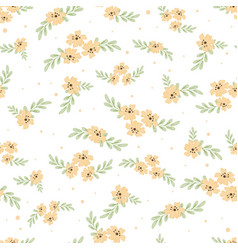 cute watercolor yellow cosmos flowers seamless vector image