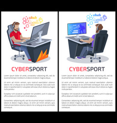cybersport posters with text gamers playing games vector image