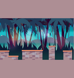 Dark jungles game background 2d game application vector