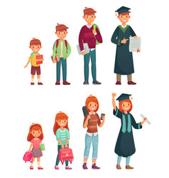 Different ages students primary pupil junior vector